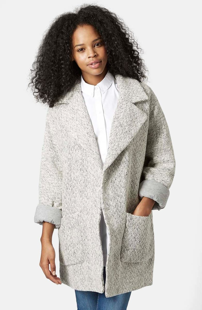 TOPSHOP Oversized Long Jacket, Main, color, 900