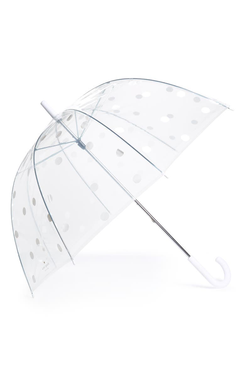 KATE SPADE NEW YORK polka dot clear umbrella, Main, color, 100