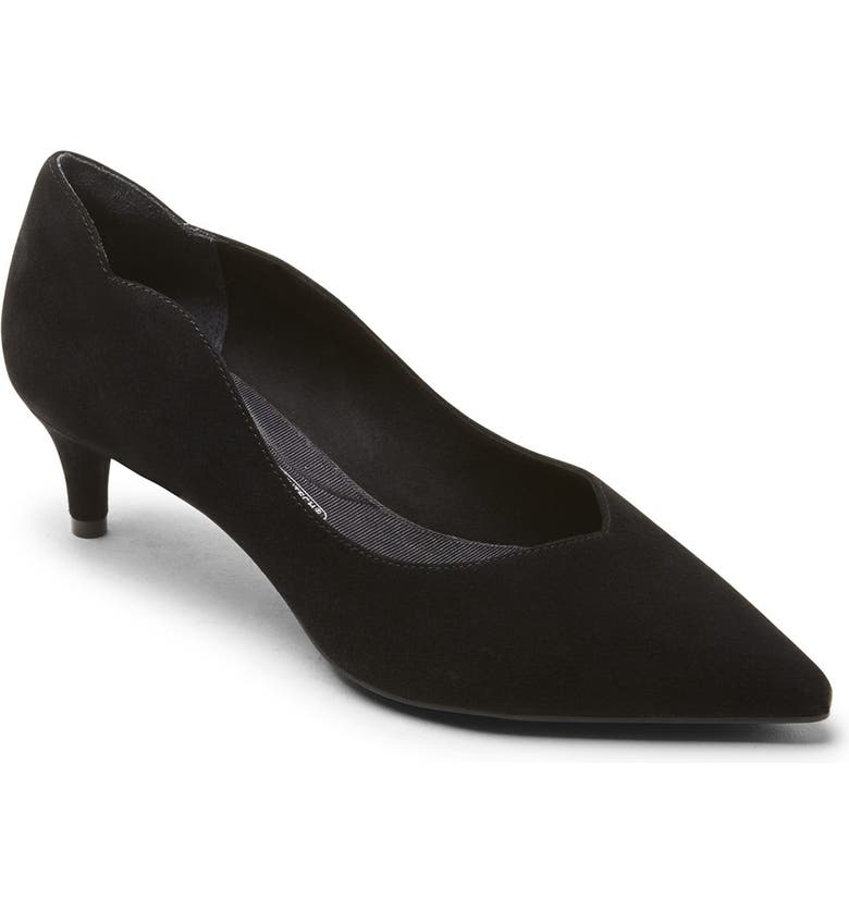 ROCKPORT Noelle Back Scallop Pump - Wide Width Available, Main, color, BLACK SUEDE