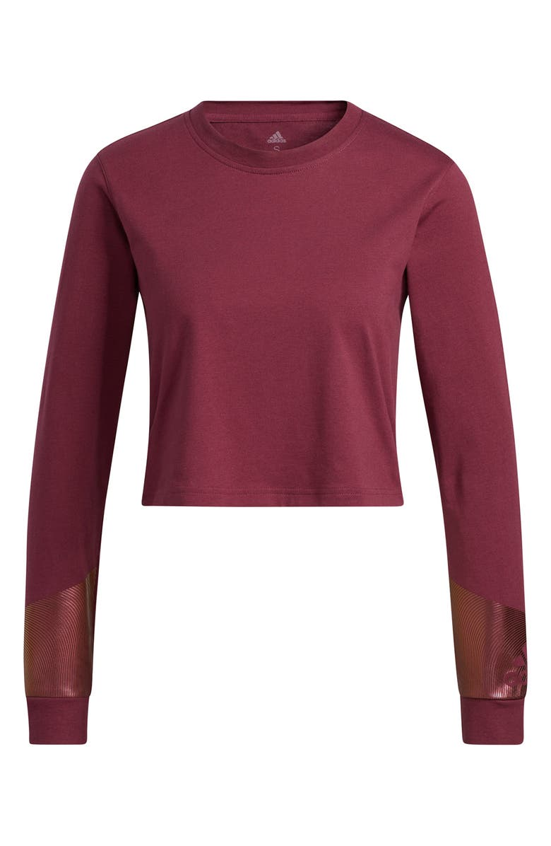 ADIDAS Holiday Graphic Cropped Long Sleeve Tee, Main, color, VICTORY CRIMSON