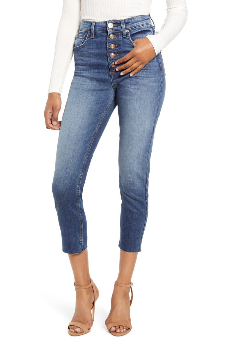 STS BLUE Alicia Button Fly High Waist Crop Mom Jeans, Main, color, 400