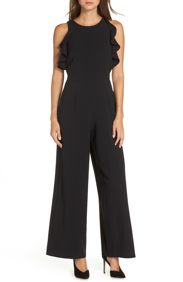 JULIA JORDAN Crepe Ruffle Trim Wide Leg Jumpsuit, Main, color, 001