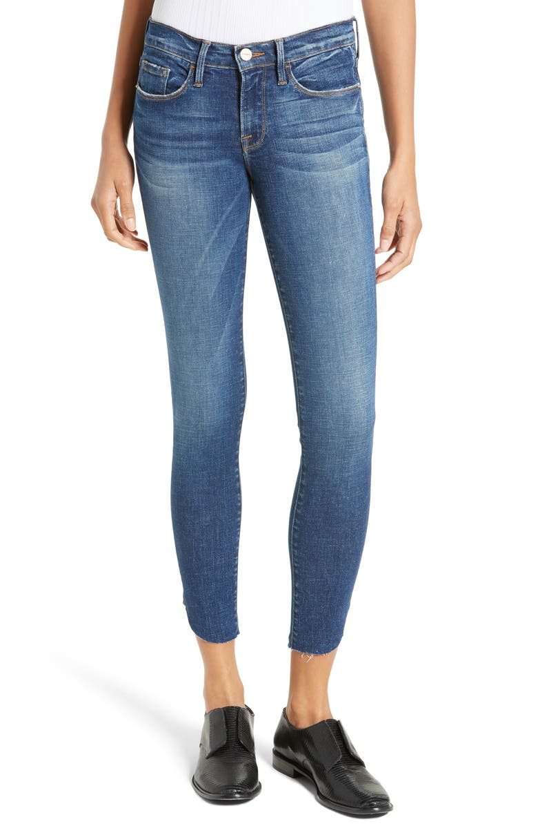 FRAME Le Skinny Raw Tulip Crop Jeans, Main, color, 420