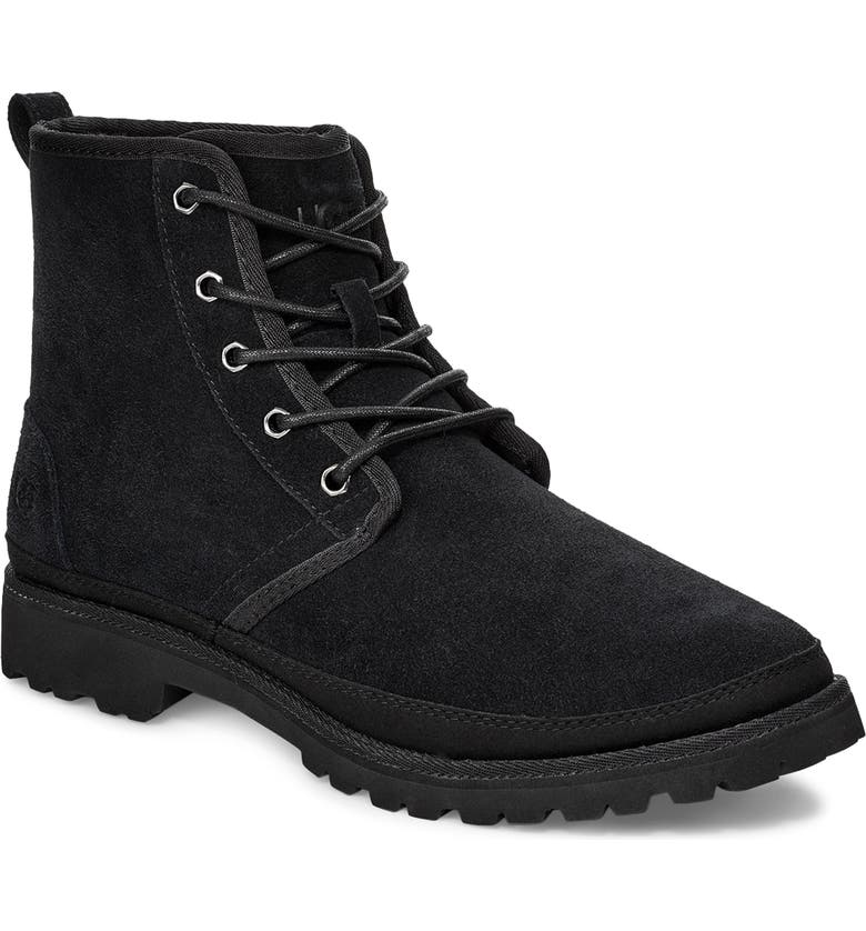 UGG<SUP>®</SUP> Harkland Water Resistant Boot, Main, color, BLACK SUEDE