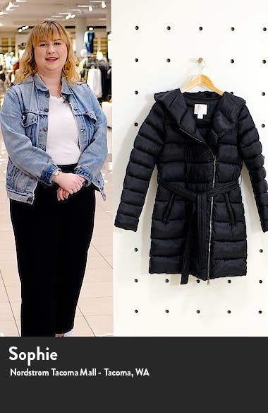 Belted Asymmetrical Hooded Puffer Coat, sales video thumbnail