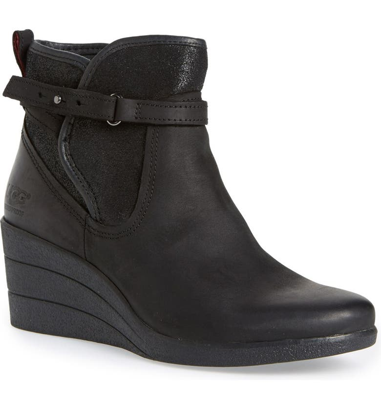 UGG<SUP>®</SUP> 'Emalie' Waterproof Wedge Bootie, Main, color, 001