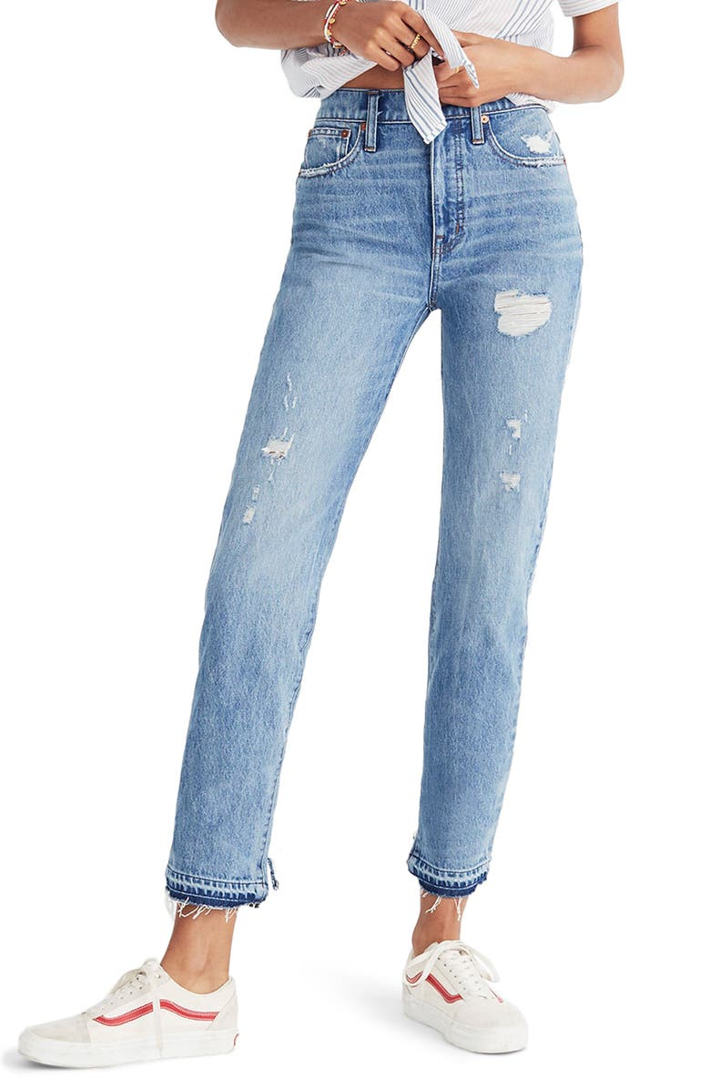 MADEWELL Classic Distressed Straight Leg Jeans, Main, color, 400