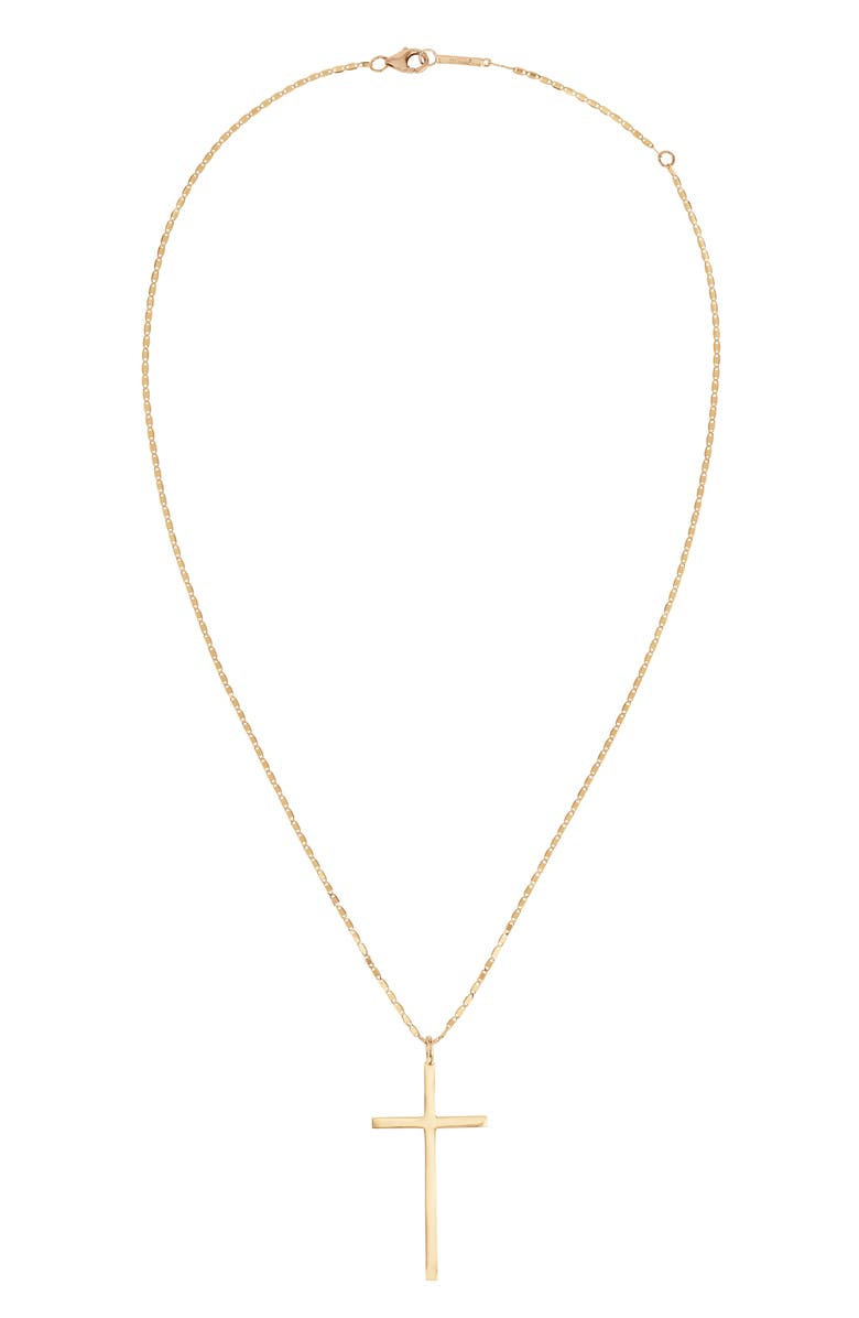LANA JEWELRY Cross Pendant Necklace, Main, color, YELLOW GOLD
