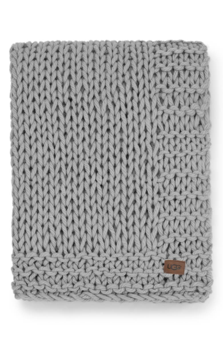UGG<SUP>®</SUP> Wharf Knit Throw Blanket, Main, color, 020
