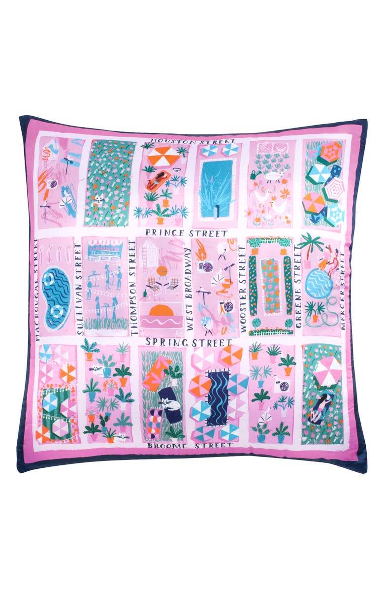 KATE SPADE NEW YORK rooftop scene silk & cotton accent pillow, Main, color, 650