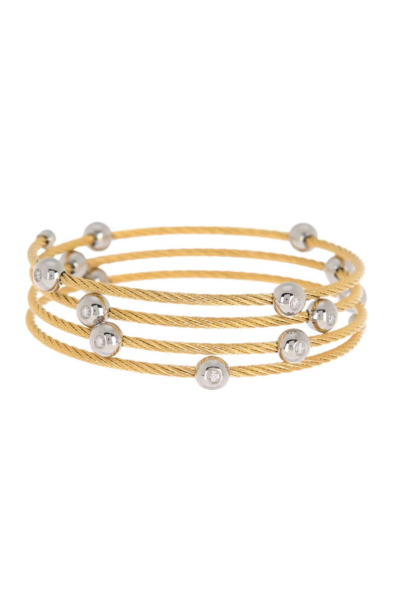ALOR Yellow Stainless Steel Cascade Chain Bangle Bracelet, Main, color, ST