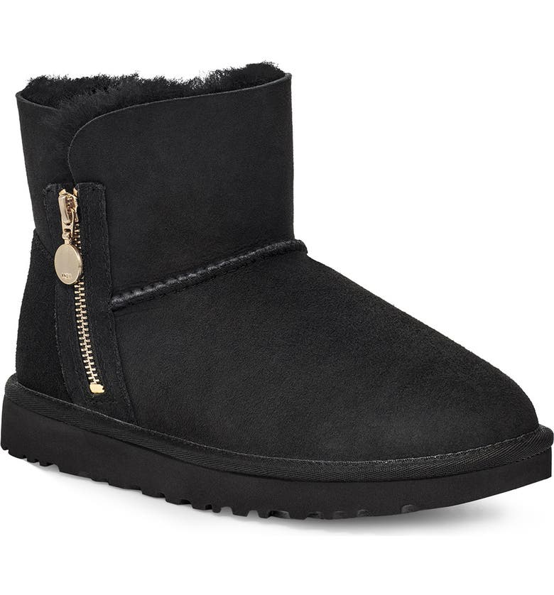 UGG<SUP>®</SUP> Mini Bailey Zipper Boot, Main, color, BLACK SUEDE