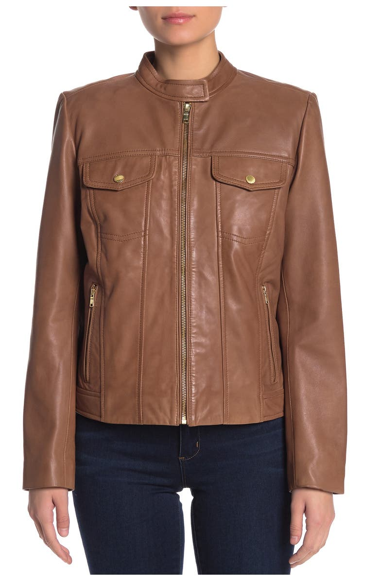 COLE HAAN Lamb Leather Zip Pocket Jacket, Main, color, HICKORY