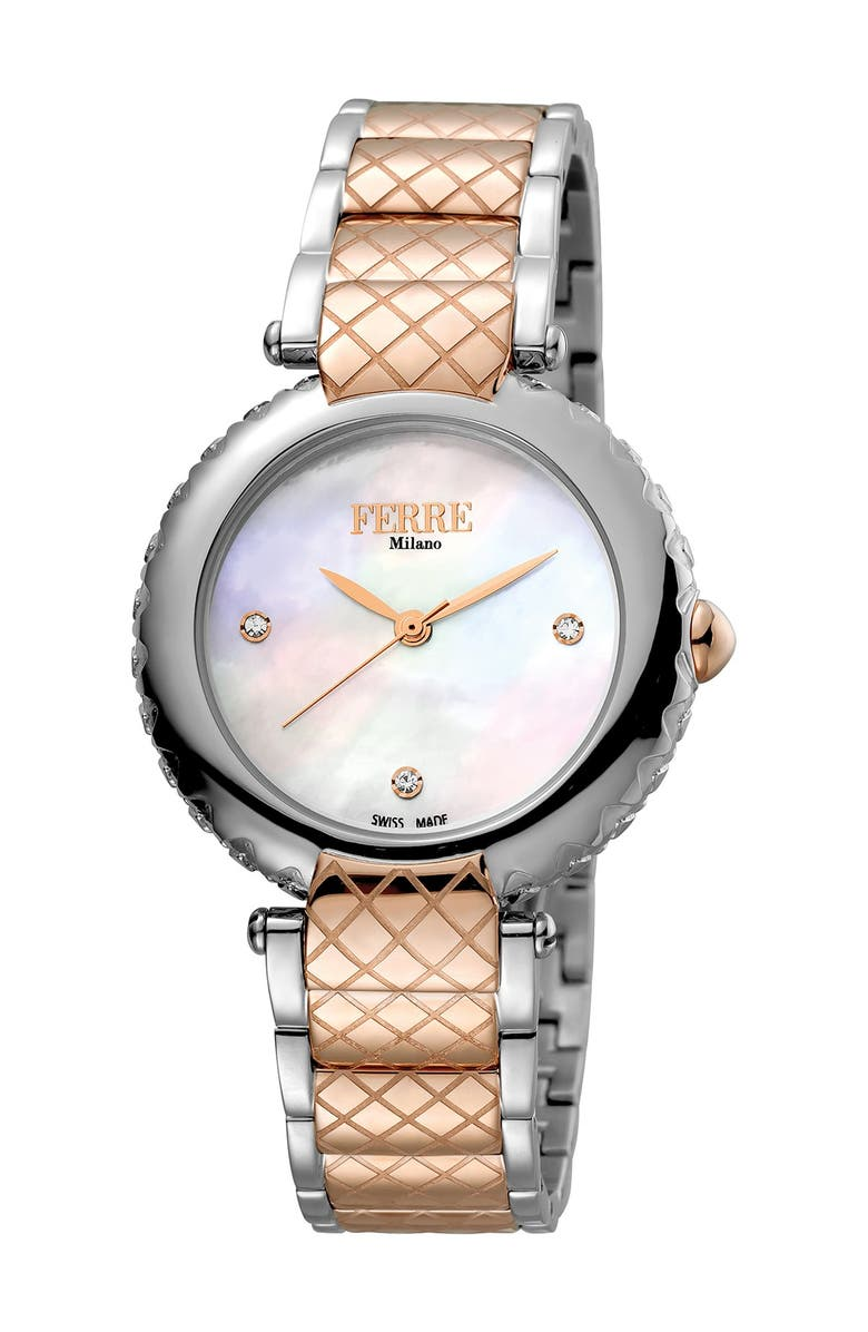 FERRE MILANO Women's Stainless Steel Watch, 34mm, Main, color, TWO TONED SS/IPRG