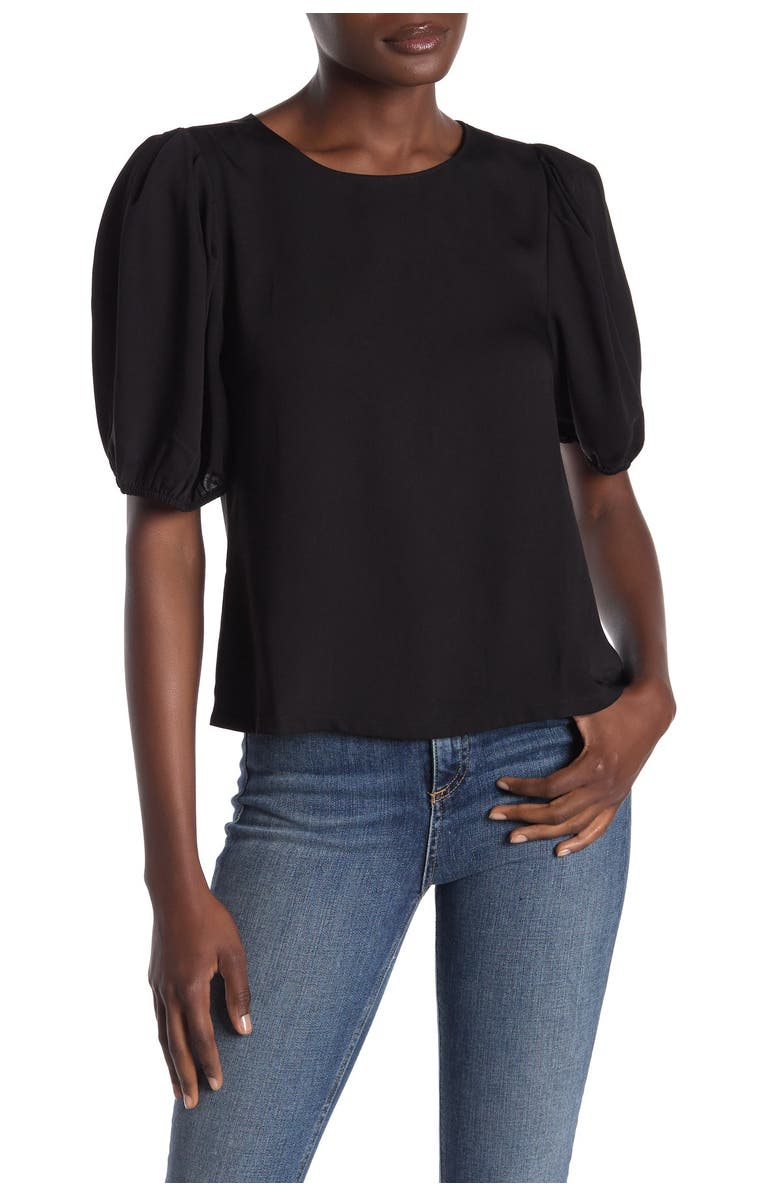 ELODIE Crew Neck Puff Elbow Sleeve Top, Main, color, BLACK