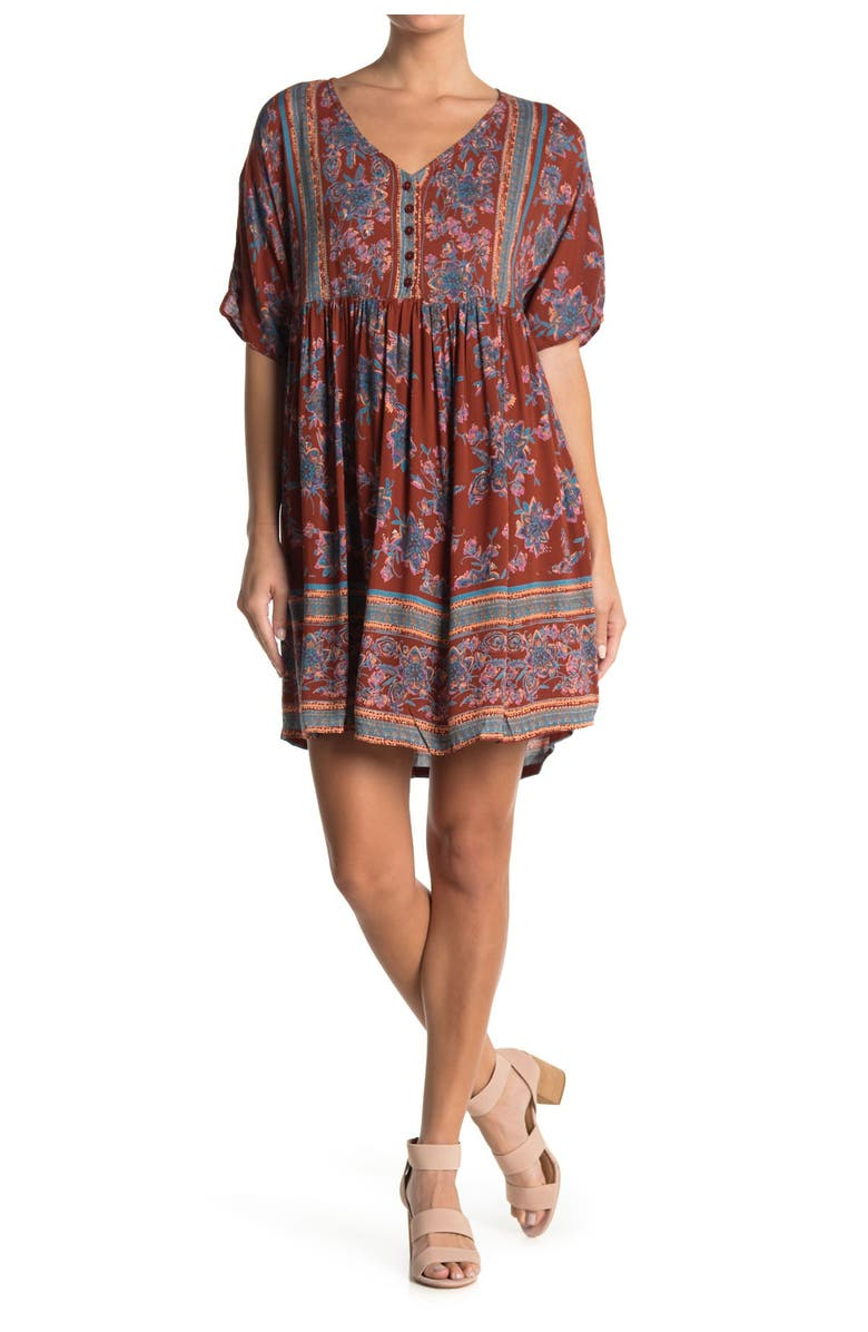 ANGIE Button Front V-Neck Babydoll Dress, Main, color, RUST