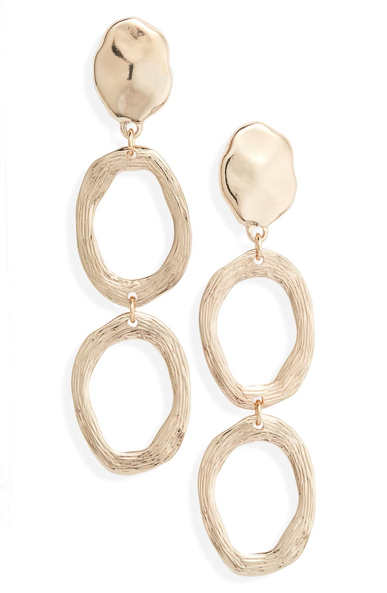 SOMETHING NAVY Scored Circle Drop Earrings, Main, color, 710