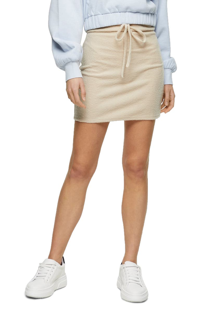 TOPSHOP Fluffy Channel Drawstring Miniskirt, Main, color, OATMEAL
