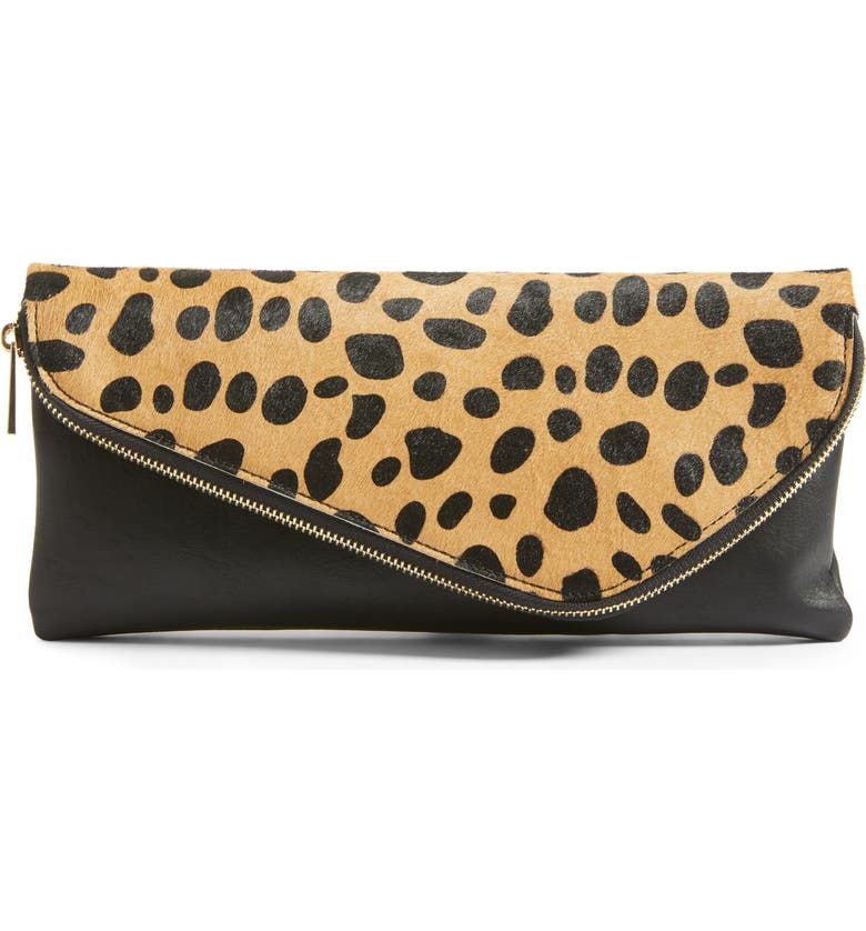 SOLE SOCIETY Tamika Genuine Calf Hair & Faux Leather Foldover Clutch, Main, color, 200