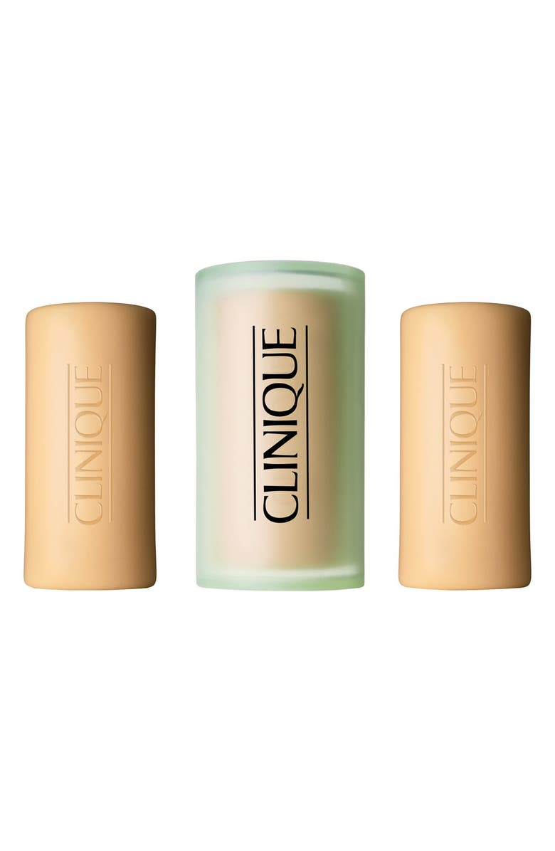 CLINIQUE Three Little Soaps with Travel Dish, Main, color, MILD