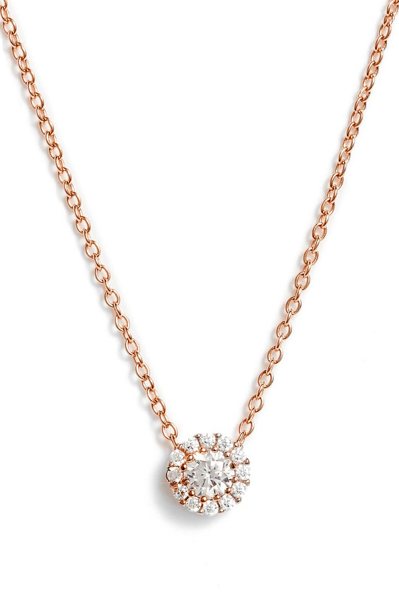 NORDSTROM Cubic Zirconia Halo Pendant Necklace, Main, color, ROSE GOLD