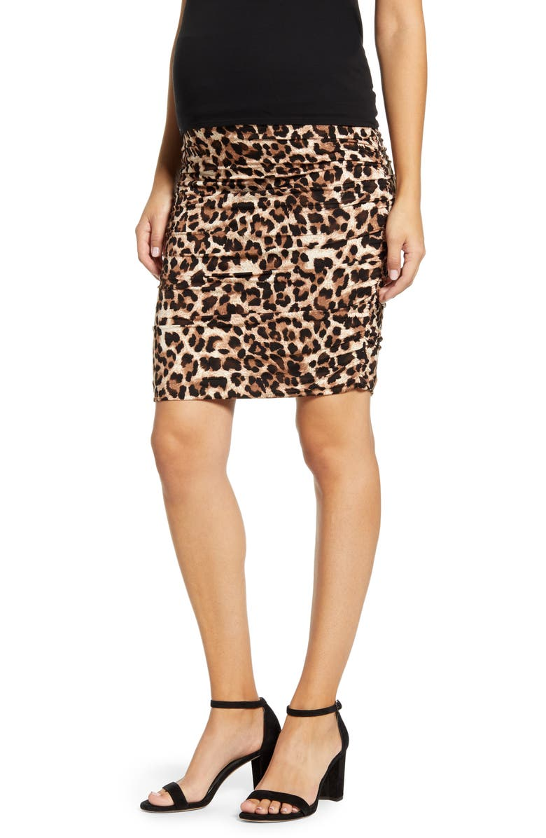 ANGEL MATERNITY Ruched Leopard Print Maternity Skirt, Main, color, Brown