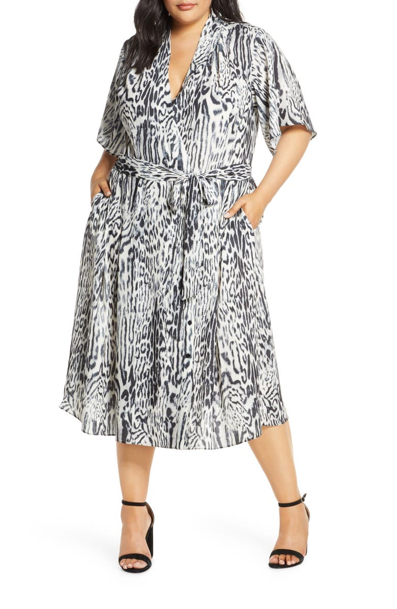 RACHEL ROY COLLECTION Animal Print Wrap Dress, Main, color, 020
