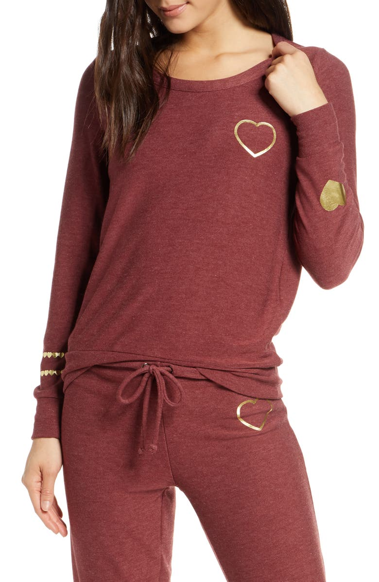 CHASER Cozy Knit Golden Heart Sweatshirt, Main, color, 930