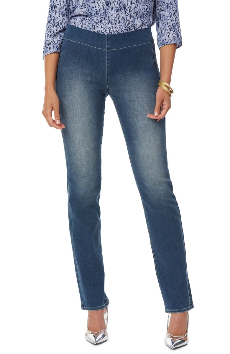 NYDJ Pull-On Straight Leg Jeans, Main, color, CLEAN ENCHANTMENT