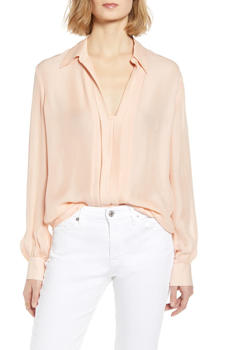 7 FOR ALL MANKIND<SUP>®</SUP> Pleated Placket Silk Blend Shirt, Main, color, 980