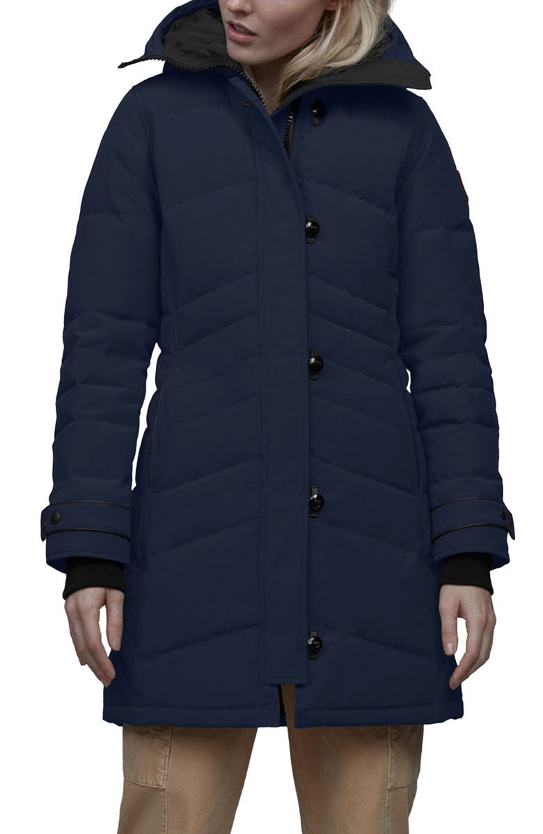 CANADA GOOSE Lorette Hooded Down Parka with Genuine Coyote Fur Trim, Main, color, ATLANTIC NAVY