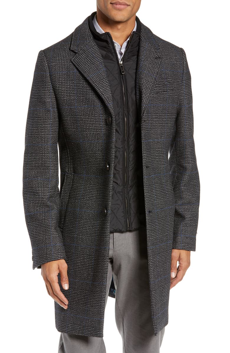 TED BAKER LONDON Plaid Stretch Wool & Cotton Overcoat, Main, color, 020