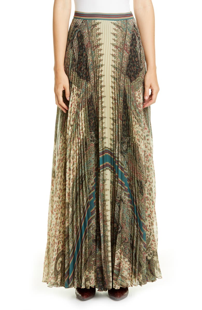 ETRO Brocade Print Pleated Maxi Skirt, Main, color, 250