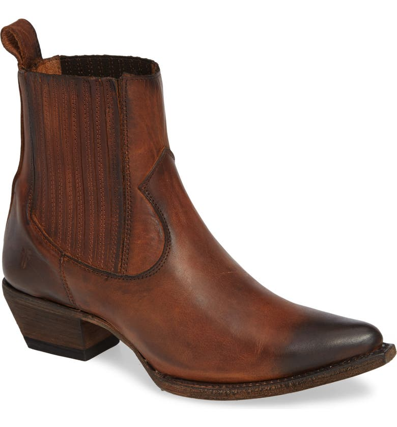 FRYE Sacha Western Bootie, Main, color, COGNAC LEATHER