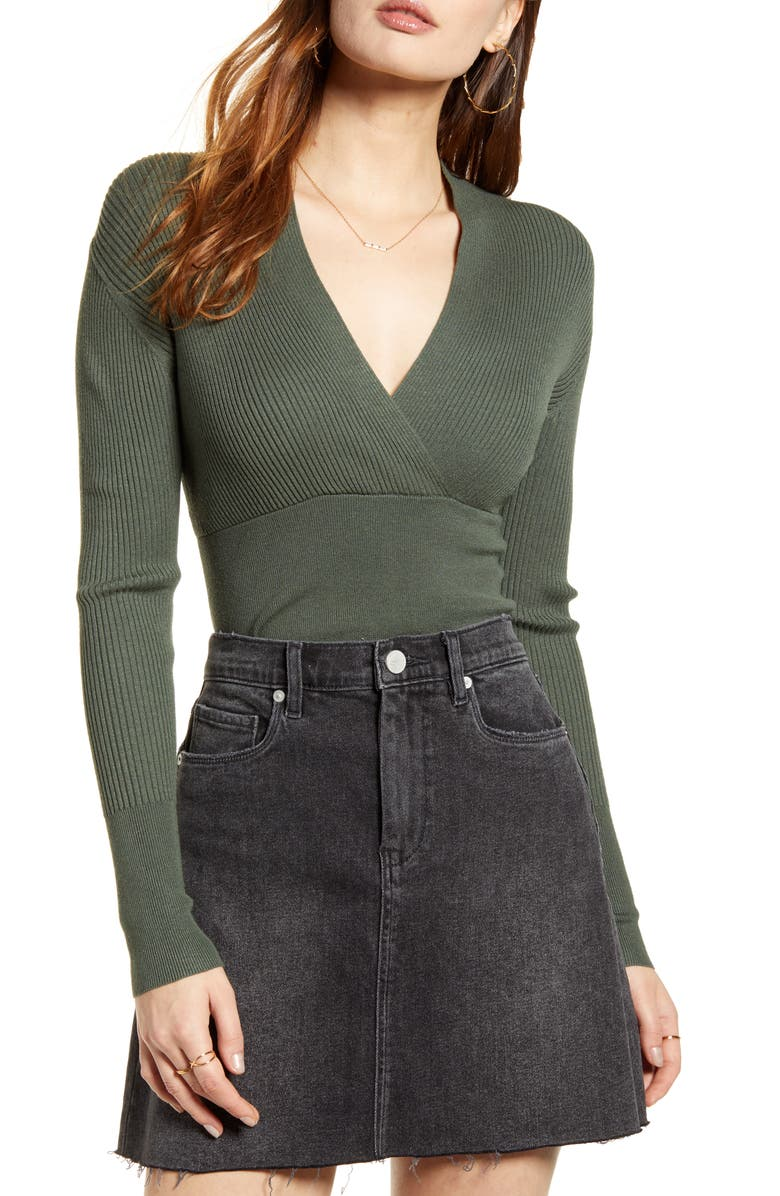LEITH Rib Wrap Banded Top, Main, color, 301