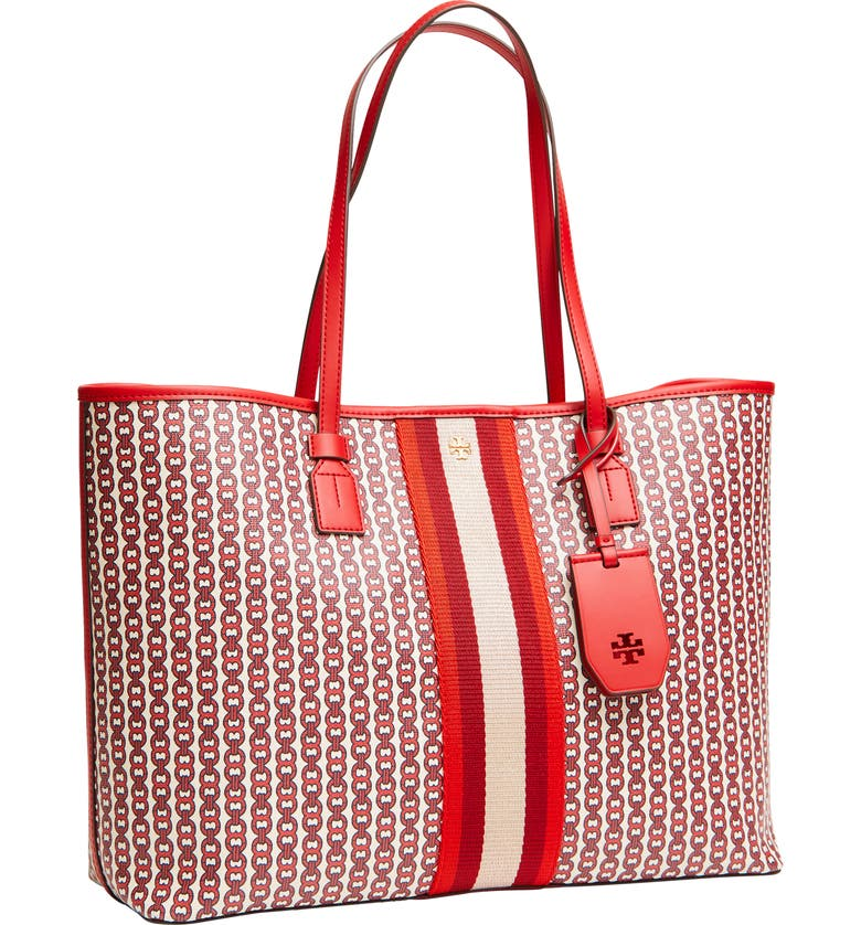 TORY BURCH Gemini Link Coated Canvas Tote, Main, color, 600