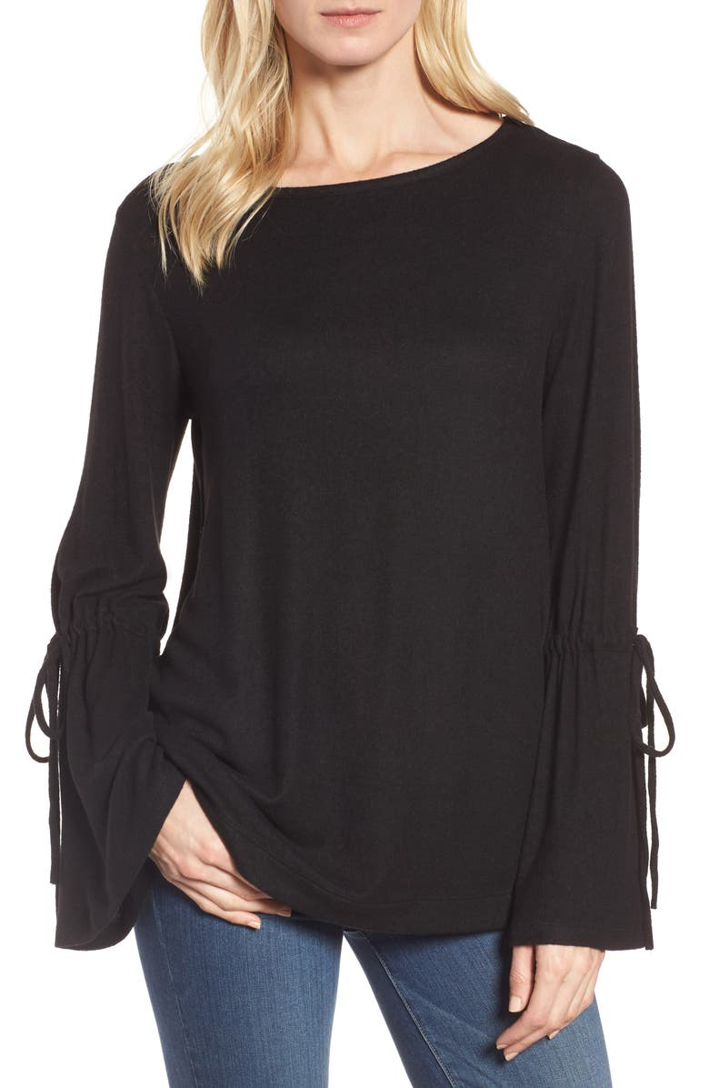 CASLON<SUP>®</SUP> Cozy Bell Sleeve Top, Main, color, 001