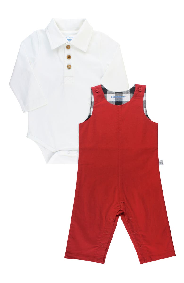 RUGGEDBUTTS Polo Bodysuit & Overalls Set, Main, color, RED
