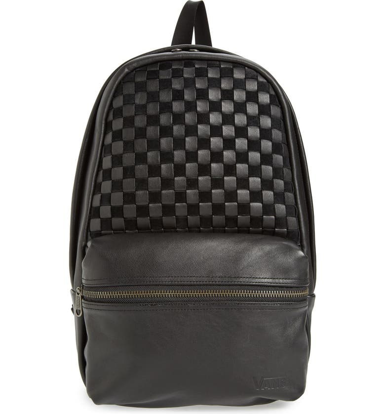 VANS 'Calico Plus' Leather Backpack, Main, color, BLACK LEATHER