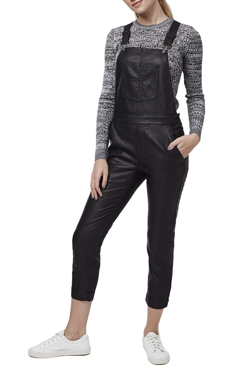 TOPSHOP Skinny Faux Leather Overalls, Main, color, Black