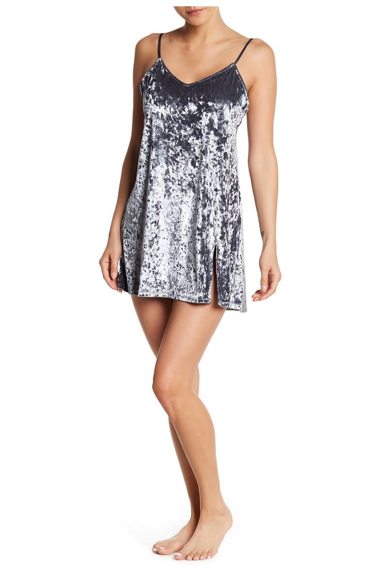 FRENCH CONNECTION Crushed Velvet Chemise, Main, color, SMOKEY
