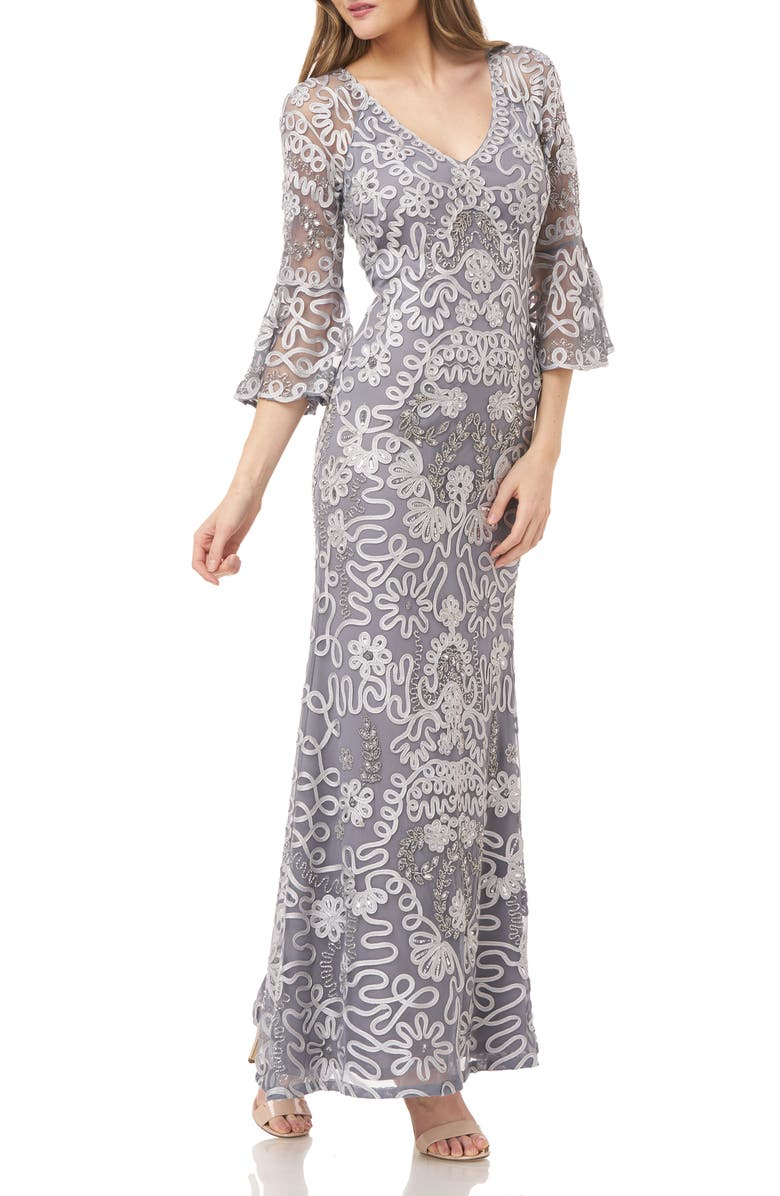 JS COLLECTIONS Soutache Embroidered Trumpet Gown, Main, color, 021