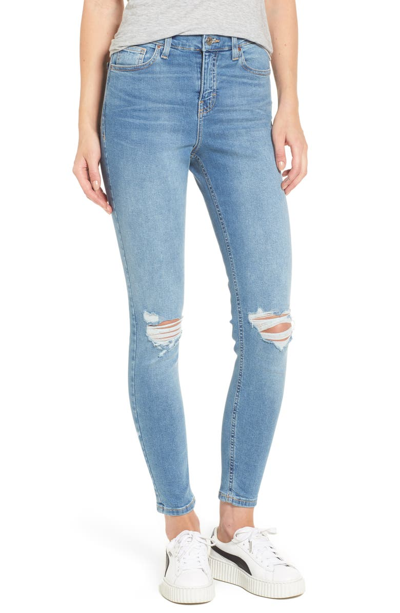 TOPSHOP Moto Jamie Ripped High Waist Ankle Skinny Jeans, Main, color, MID DENIM