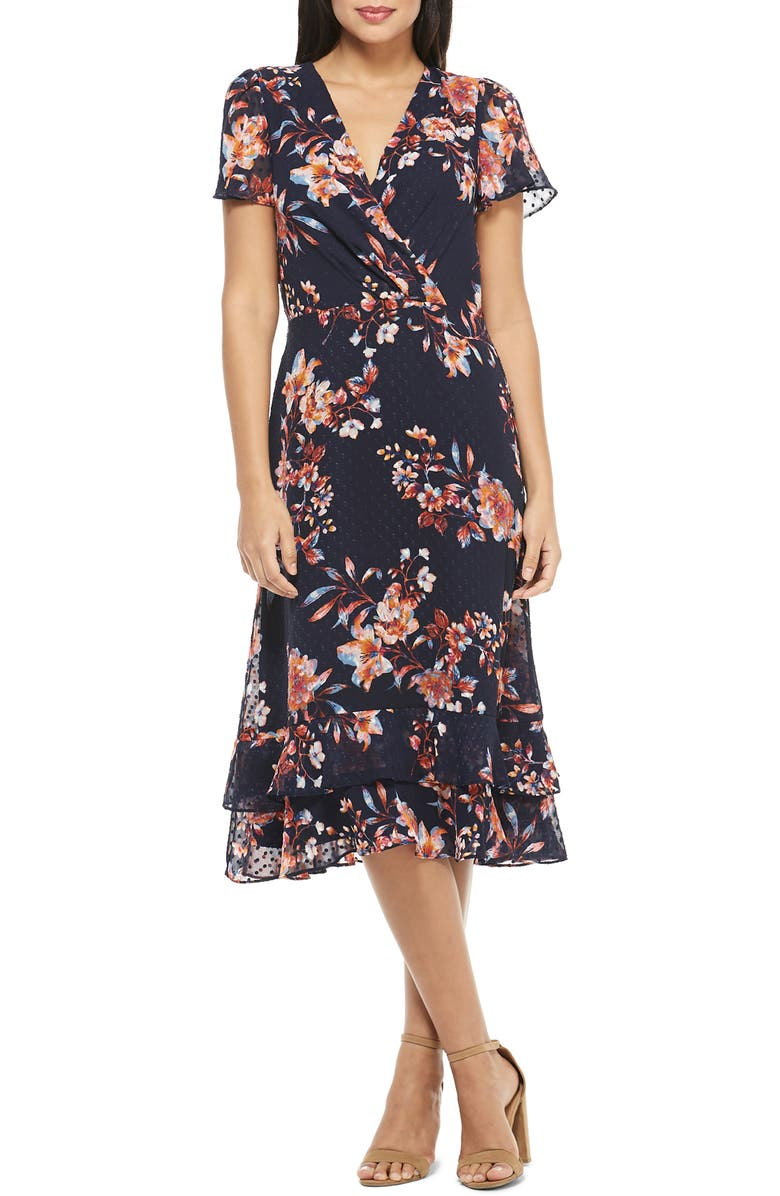 MAGGY LONDON Amelia Floral Print Swiss Dot Midi Dress, Main, color, 488