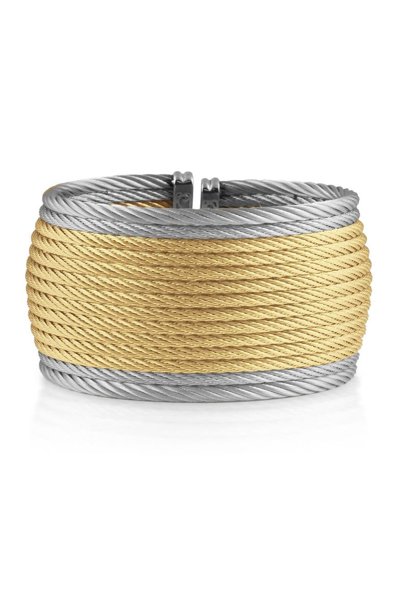 ALOR 18K Yellow Gold & Stainless Steel Cuff, Main, color, YELLOW/GREY