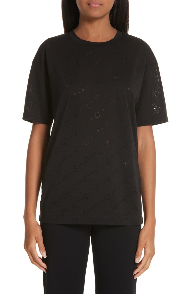 STELLA MCCARTNEY Angle Logo Tee, Main, color, 001