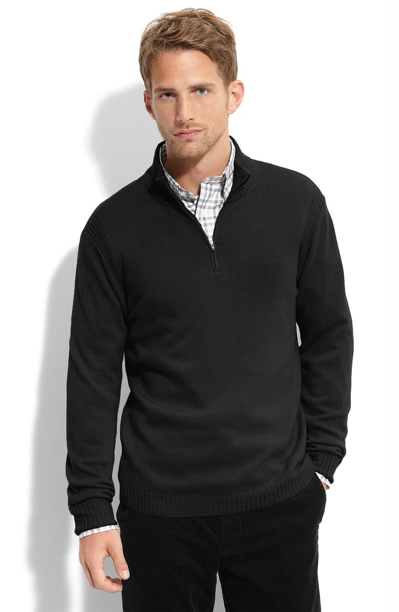 F. FAÇONNABLE Façonnable Half Zip Wool Sweater, Main, color, 001