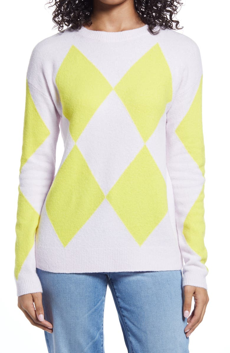HALOGEN<SUP>®</SUP> Argyle Sweater, Main, color, PINK- YELLOW ARGYLE