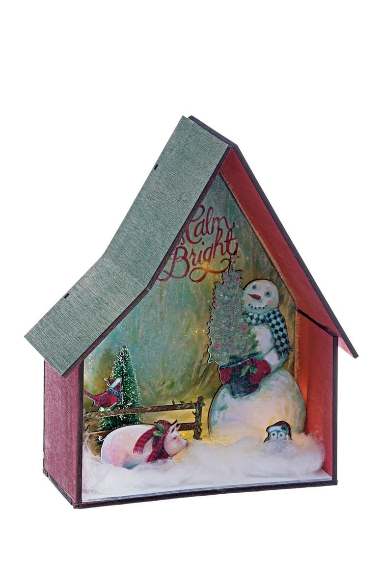 """ALLSTATE 10"""" H x 8"""" L Battery Operated Snowman with Christmas Tree in Farm House with Light, Main, color, RED GREEN"""
