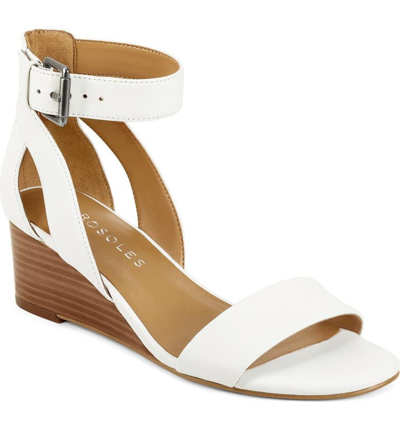 AEROSOLES Willowbrook Ankle Strap Wedge Sandal - Wide Width Available, Main, color, WHITE LEATHER